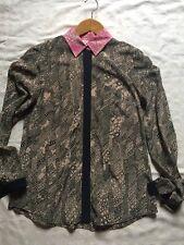 Trina Turk Silk Multi Color Sz S Blouse Button Down Long Sleeve EUC