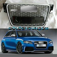 RS4 Front Silver / Black Sline Euro Grille For Audi A4 S4 B8 8K Avant 2009-2012