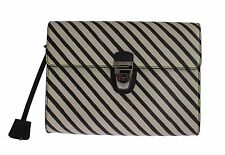 NEW $1200 DOLCE & GABBANA Bag Black Beige Striped Leather Document Briefcase