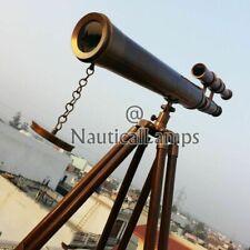 "Telescope Antique Marine Brass Royal Navy Port Decor Wooden Tripod 18"" SOLID"