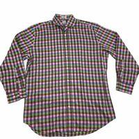 PETER MILLAR Men's Sz 17 Long Sleeve Button Down Multi-Color Checked Shirt EUC