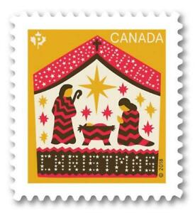 "2018 Canada 📭🎅 AWAY IN A MANGER Christmas Stamp 🎅 ""P"" Single MNH 🎅📬"