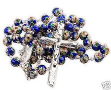 Cloisonne Rose Beads Blue Color Rosary Virgin Mary Medal & Jesus Cross Jerusalem