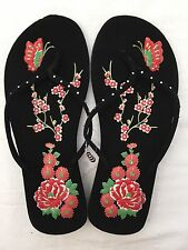 New Floral Butterfly Rhinestone Thong Flip Flops Summer Slip On Beach Shoes NIP