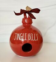 Rae Dunn Red Christmas JINGLE BELLS Ornament Ceramic Birdhouse by Magenta.
