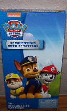 Valentines Day Cards (Box of 32)Nickelodeon Paw Patrol with Tattoos