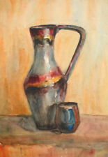 Vintage watercolor drawing still life pitcher cup