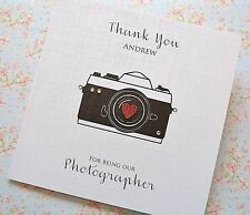 Personalised Thank You Photographer card camera heart white