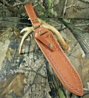 Custom U.S.A. Bowie Dangler Leather Sheath Hand Made Hand Sewn