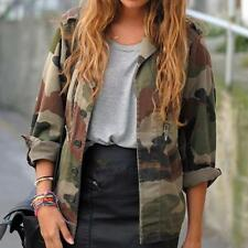 Womens Ladies Vintage Loose Camouflage Coat Army Camo Bomber Jackets Outwear
