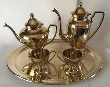 DIRILYTE Dirigold Regal Coffee Teapot  Creamer Sugar Tray Tea Set Goldware 1962