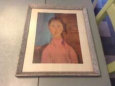 T Ancienne reproduction peinture signée à identifié sur papier sous cadre N°4