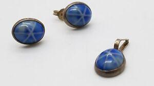 925 Silver Glass Set Earrings Pendant 2Pc Lot DY464