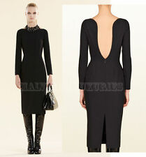 $1,900 SENSUAL GUCCI DRESS BACKLESS LONG SLEEVES BLACK STRETCH WOOL IT 40 US 4