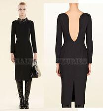 $1,900 SENSUAL GUCCI DRESS BACKLESS LONG SLEEVES BLACK STRETCH WOOL IT 44 US 8