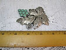TAXCO Silver Sterling GRAPE LEAF Brooch Pin w/ Turquoise Stone HECHO EN MEXICO