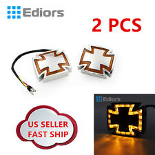 2x Motorcycle Amber Maltese Cross LED Marker Turn Signal Brake Light for Honda