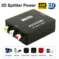 RCA Mini Composite 1080P AV to HDMI Converter For PS2 PS3 SKY HDTV Adapter Top