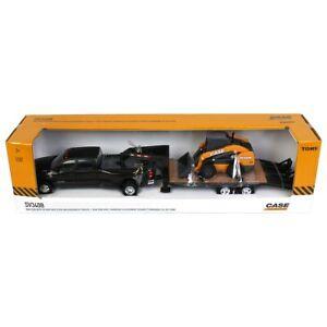 1/32 Big Farm Ram Dually Quad Cab & Lowboy Trailer & Case SV340B Skidsteer 47155