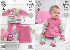 King Cole Baby Girl Knitting Pattern For Tunic, Cardigan & Leggins - 4203