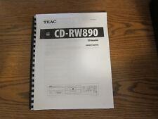 Teac CD-RW890 operating instructions user manual