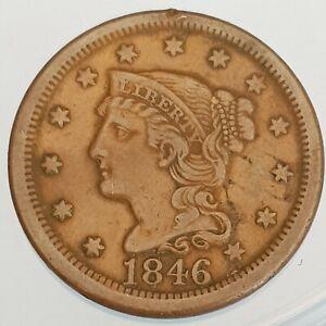 USA Braided Hair Large Cent 1846 (ref #12)