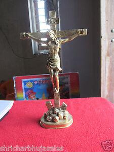 INRI Vintage French Religious Big Brass Catholic Jesus Christ Crucifix Cross