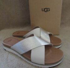UGG Australia 1018901 Kari Silver Metallic Leather Sandals Shoes US 8 EUR 39 NWB