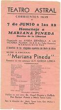 GARCIA LORCA, Federico. Programa original - Teatro Astral. Rafael Alberti.