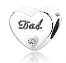 💎🎀 STERLING SILVER 925 DAD HEART CHARM &  POUCH - DADDY FATHER