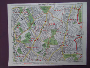 """LONDON TOOTING WANDSWORTH CLAPHAM BRIXTON VINTAGE MAP G PHILIP DATE 194810x8"""""""