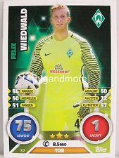 Match Attax 2016/17 Bundesliga - #037 Felix Wiedwald - SV Werder Bremen
