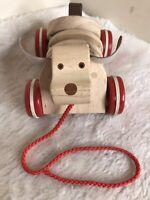 M&S WOODEN PULL ALONG CLICK CLACK DOG TOY Vintage