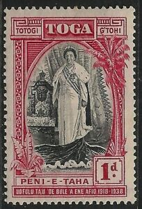 TONGA 1938 SG71 1d. 20TH ANNIVERSARY OF QUEEN SALOTE'S ACCESSION -  MNH
