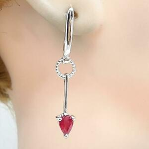 World Class 1.40ctw Mozambique Ruby Pear Cut 925 Sterling Silver Earrings 4.7g