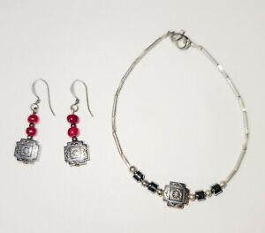 Vintage Sterling Silver Liquid Silver Bracelet and Earring Set