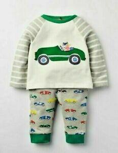MINI Boden Baby Boys Fun SUPERSOFT Car Appliqué Play Set TOP PANTS BRAND NEW