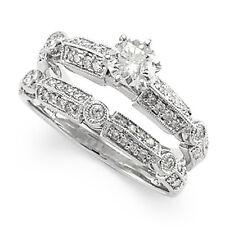 18K GOLD DIAMOND ENGAGEMENT RING WEDDING BAND BRIDE SET