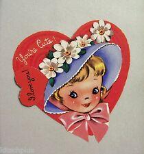 Vtg Valentine Pretty Blond Girl 40s Millinery Flowers Daisies Bonnet Unused