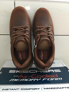 Men's Skechers DELSON ANTIGO Dark Brown Leather Waterproof Shoes, Size 9