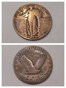 1927 Standing Liberty Quarter 90% Silver Lot Birthday Gift Gold Toned Art Coin