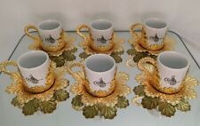 Turkish Greek Arabic Coffee Espresso Cup Set High quality US 🇺🇸 gold or silver