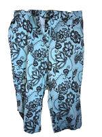 Mirror Image SZ L Blue W/Brown Flowers Capri Crop Women's Pants Button Zipper