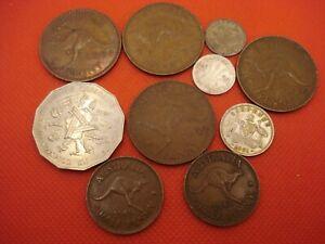 10 Australia Coins 1910 - 1982 (3 Silver)