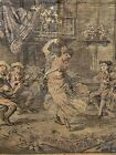 """Antique Vintage Tapestry Dancing Music People Gala Piano Table Scarf 55""""x 19"""""""