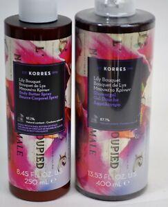 Lot of 2 Korres Lily Bouquet Showergel 13.53fl.oz + Body Butter Spray 8.45 fl.oz