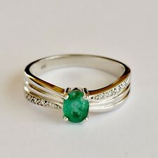 NATURAL EMERALD RING 70pts GEM GENUINE DIAMONDS 9K WHITE GOLD SIZE SIZE Q NEW