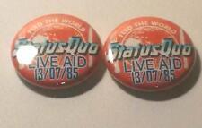2 STATUS QUO LIVE AID 1985 BADGES MINT CONDITION