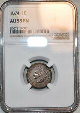 NGC AU-58 BN 1874 Indian Head Cent, Sharp, lustrous specimen.
