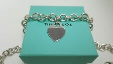 Tiffany & Co. 925 Sterling Silver Heart Tag Choker Necklace 15''